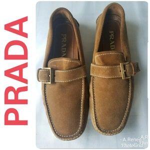 Prada Tan Suede Loafers SZ 5 Excellent Condition